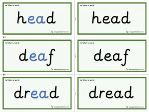 ea (short e) word cards