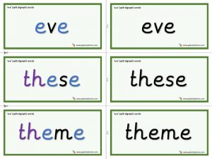 e-e (split digraph) word cards