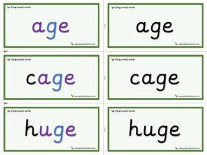-ge word cards