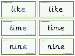 i-e (split digraph) word cards