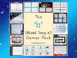 mixed long e phonics games pack