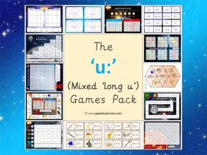 mixed long u phonics games pack