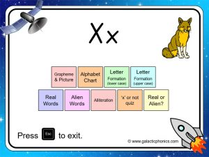 letter sounds 'x' phonics powerpoint