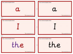 Year 1 Common Exception Word Cards