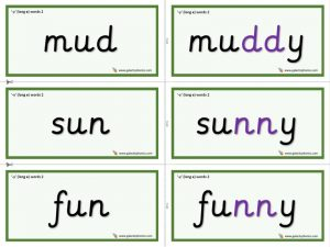y (long e) word cards (double consonant)
