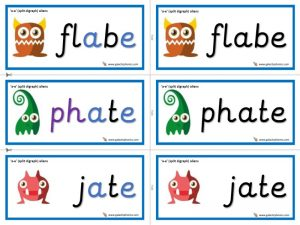 a-e (split digraph) alien cards