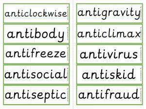anti- prefix word cards