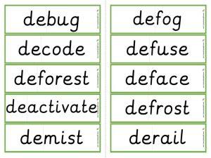 de- word cards