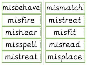 mis- prefix word cards