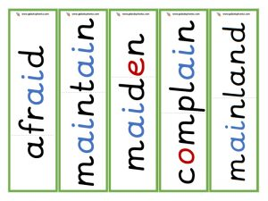 multisyllabic ai word cards