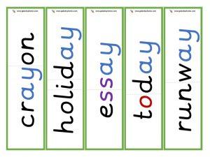 multisyllabic ay word cards