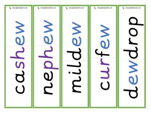 multisyllabic ew word cards