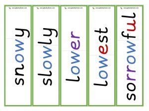 ow (long o) root word cards (ing)