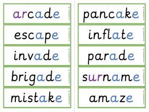 Multisyllabic a-e word cards
