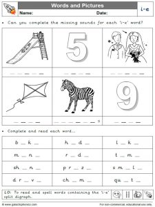 i-e (split digraph) words and pictures worksheet