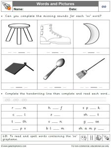 oo words and pictures worksheet