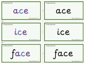 -ce word cards