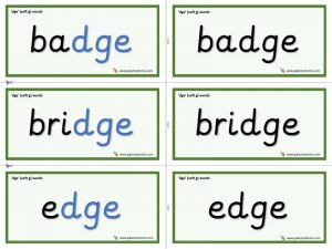 -dge word cards