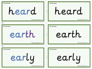 ear (er) word cards