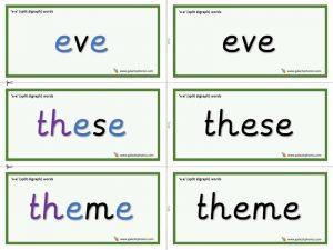 e-e (split digraph) word cards