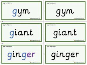 gi / gy word cards