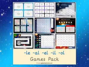 mixed -le -el -al -il -ol phonics games pack
