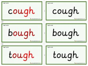 ough word cards