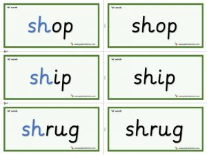 sh word cards