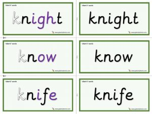 silent k word cards