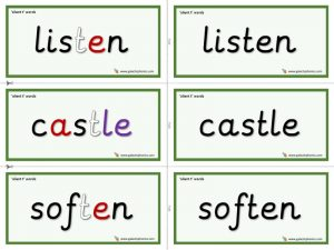 silent t word cards