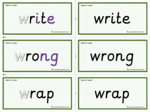 silent w word cards