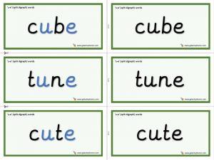 u-e (split digraph) word cards