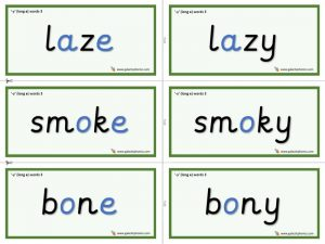 y (long e) word cards (long vowel)