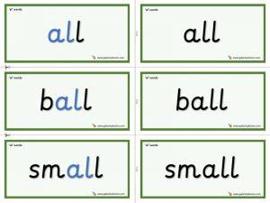 al (ball) word cards