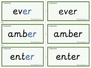 er (short) word cards