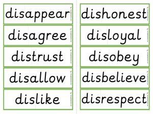 dis- prefix word cards