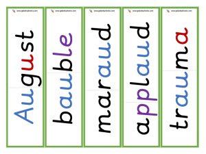 multisyllabic au word cards