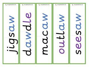 multisyllabic aw word cards