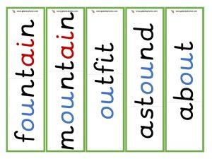 multisyllabic ou word cards