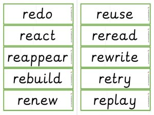 re- prefix word cards