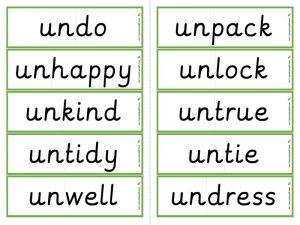 un- prefix worksheets and resources