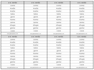 a-e spelling lists