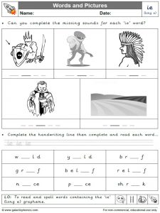 ie (long e) words and pictures worksheet