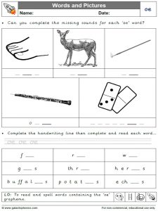 oe words and pictures worksheet
