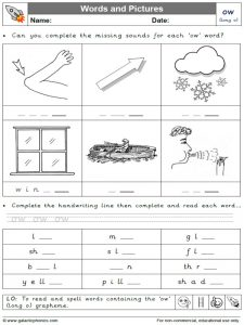 ow (long o) words and pictures worksheet