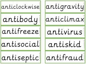 prefix anti- word cards