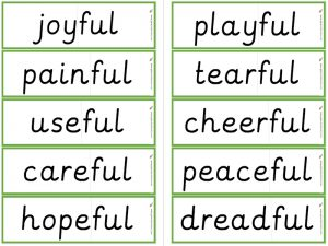 -ful suffix word cards