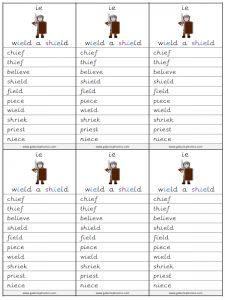 ie (long e) spelling lists