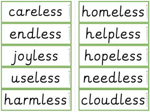 -less suffix word flashcards
