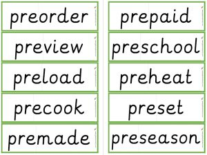 prefix pre- word flashcards